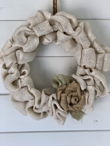 Off White Burlap Bubble Wreath with Natural Rose