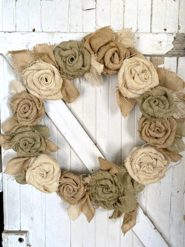 Rustic Burlap Flower Wreath