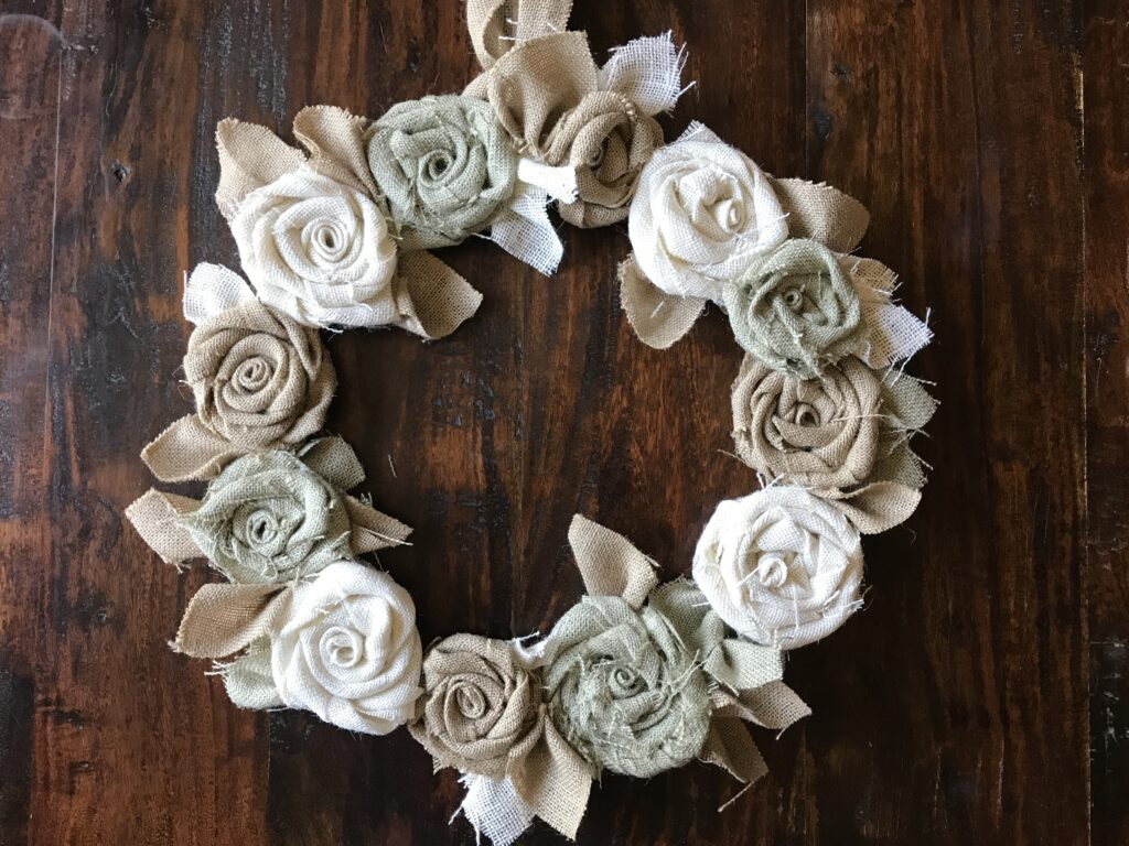Burlap Flower Wreath Handmade