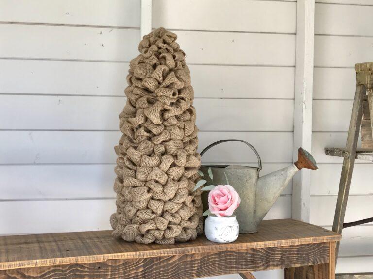 Tall Burlap Tree DIY