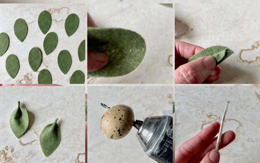 making a DIY felt leaf garland with speckled eggs