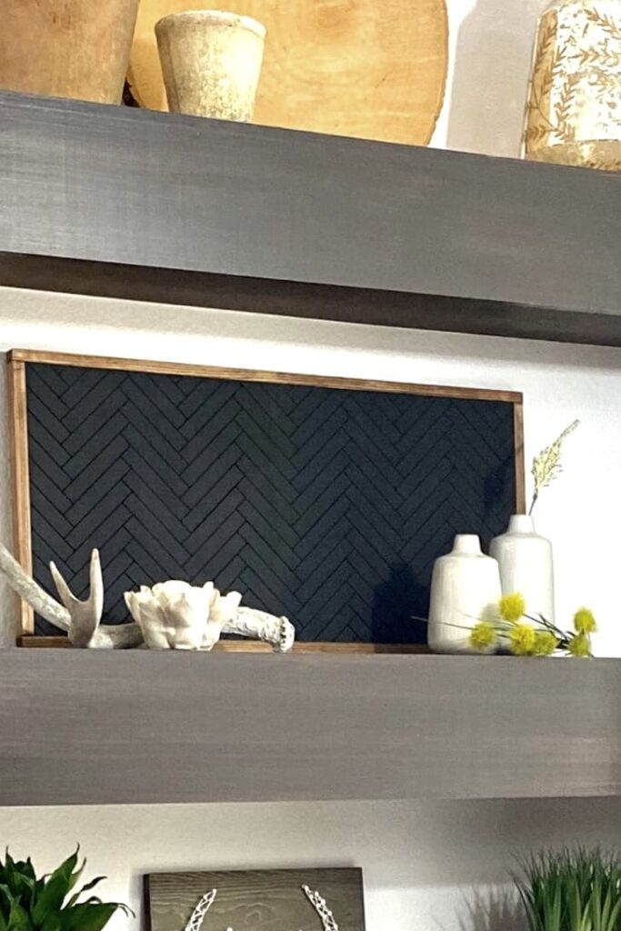 Decorated floating wall shelf