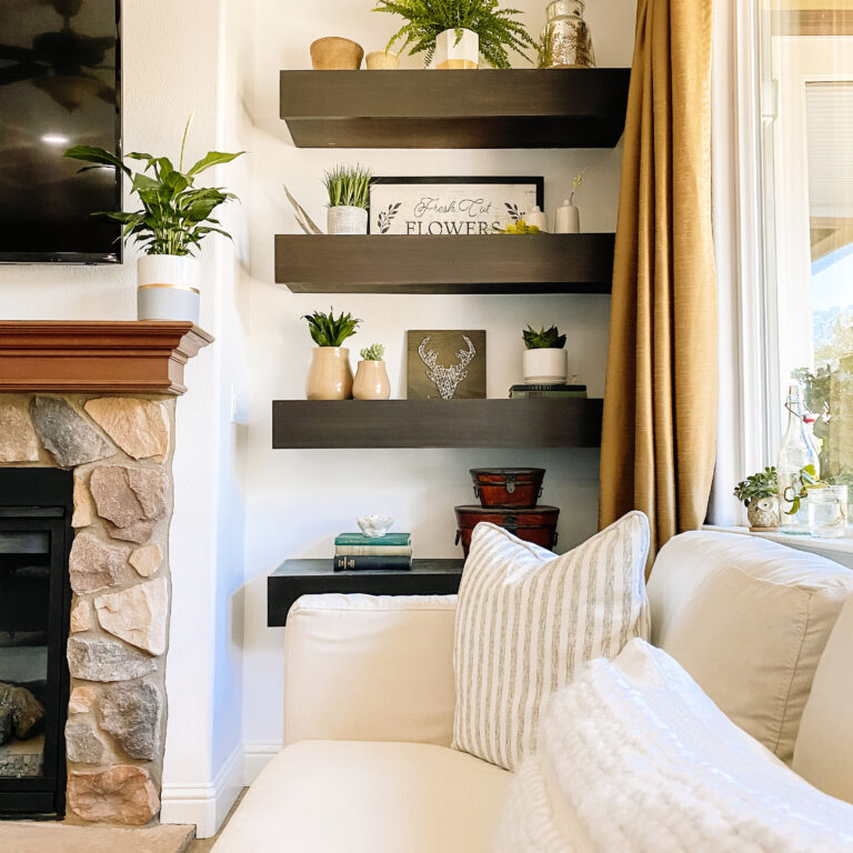 Decorating Floating Shelves Next To Fireplace