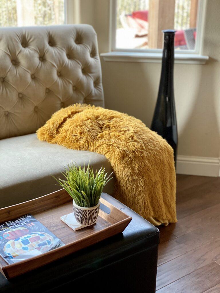 Upholstered Cream Sofa in bay window
