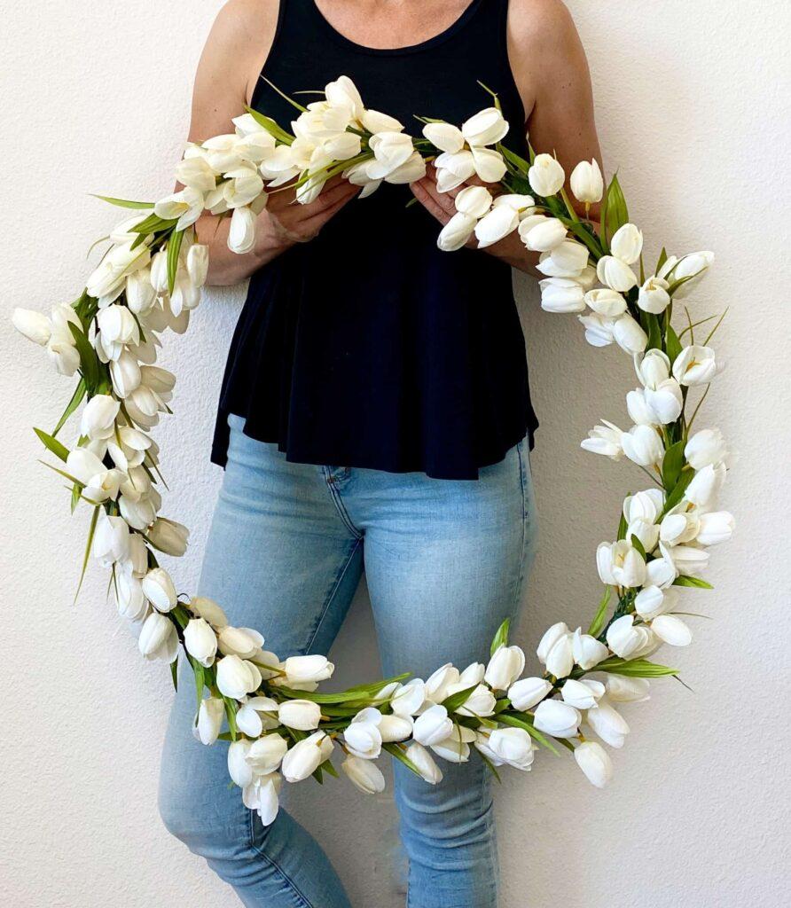 White Tulip Hula Hoop Wreath DIY