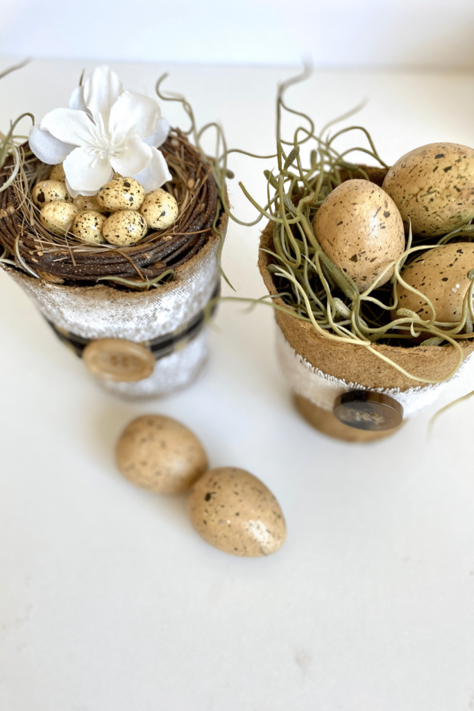 Mini Flower Pots DIY with moss and speckled eggs