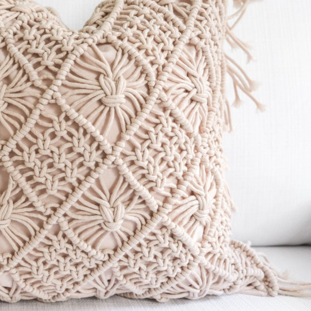 dusty pink macrame pillow cover