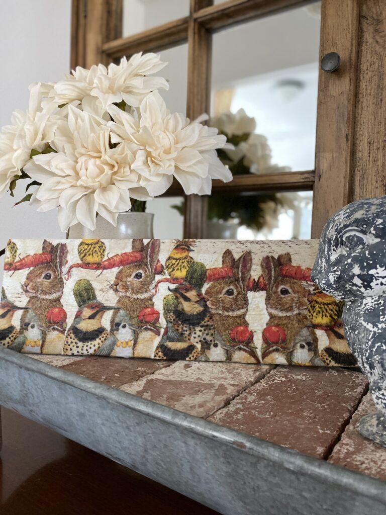 Decoupage Napkin Sign DIY