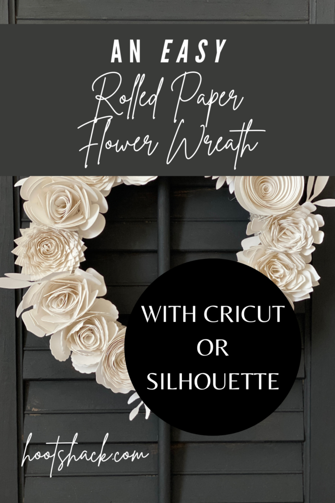 rolled paper flower wreath made with Cricut or Silhouette