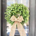 Burlap Bow On Boxwoord Wreath