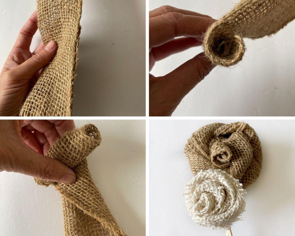 Twisted burlap flowers DIY