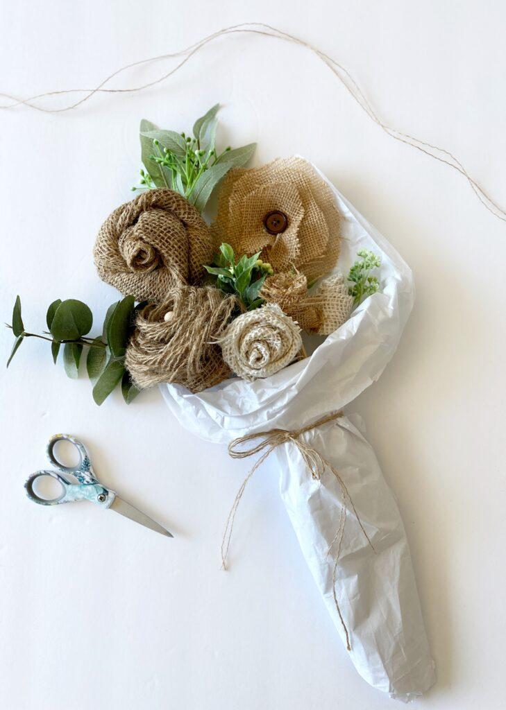 burlap floral bouquet