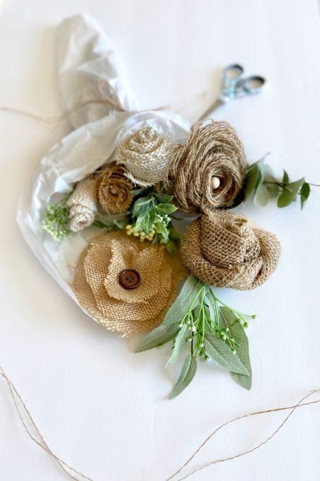 burlap flowers bouquet